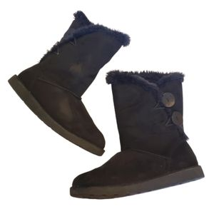 SO Faux Suede Faux Fur Lined Boots with Buttons